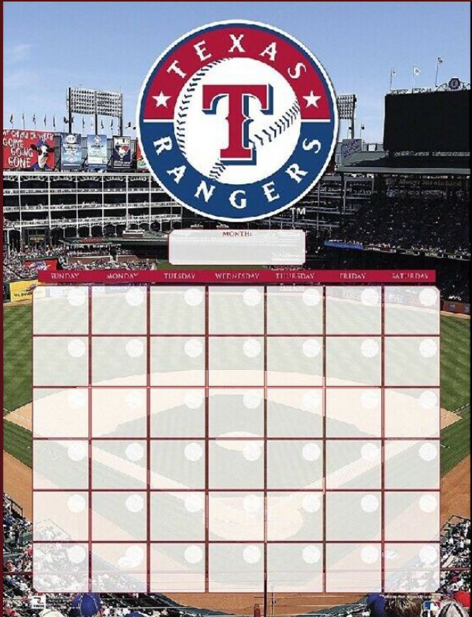Turner Perfect Timing Texas Rangers Baseball Dry Erase Calendar - Multi
