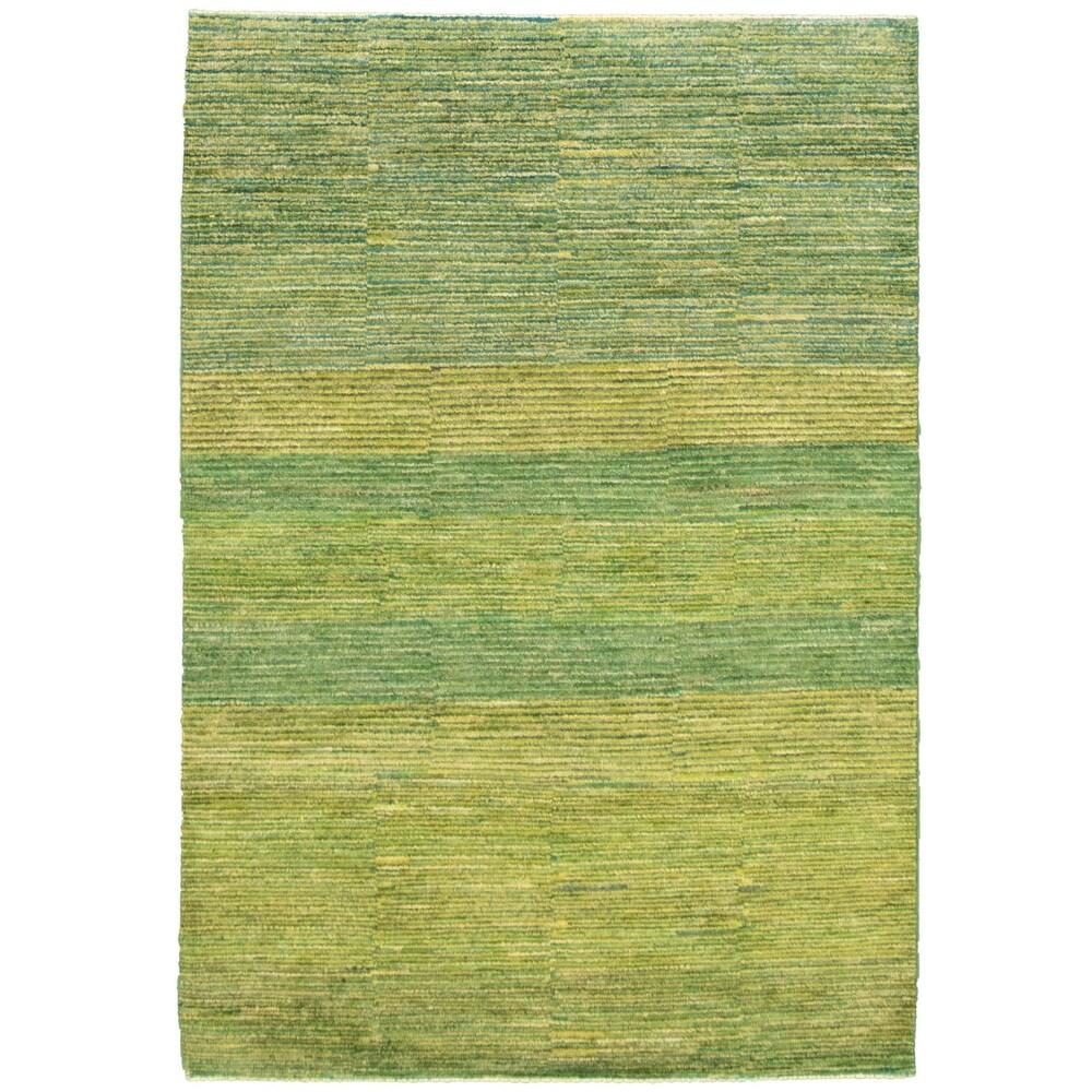 ECARPETGALLERY  Hand-knotted Pak Finest Gabbeh Green Wool Rug - 4'1 x 5'10 (Green - 4'1 x 5'10)