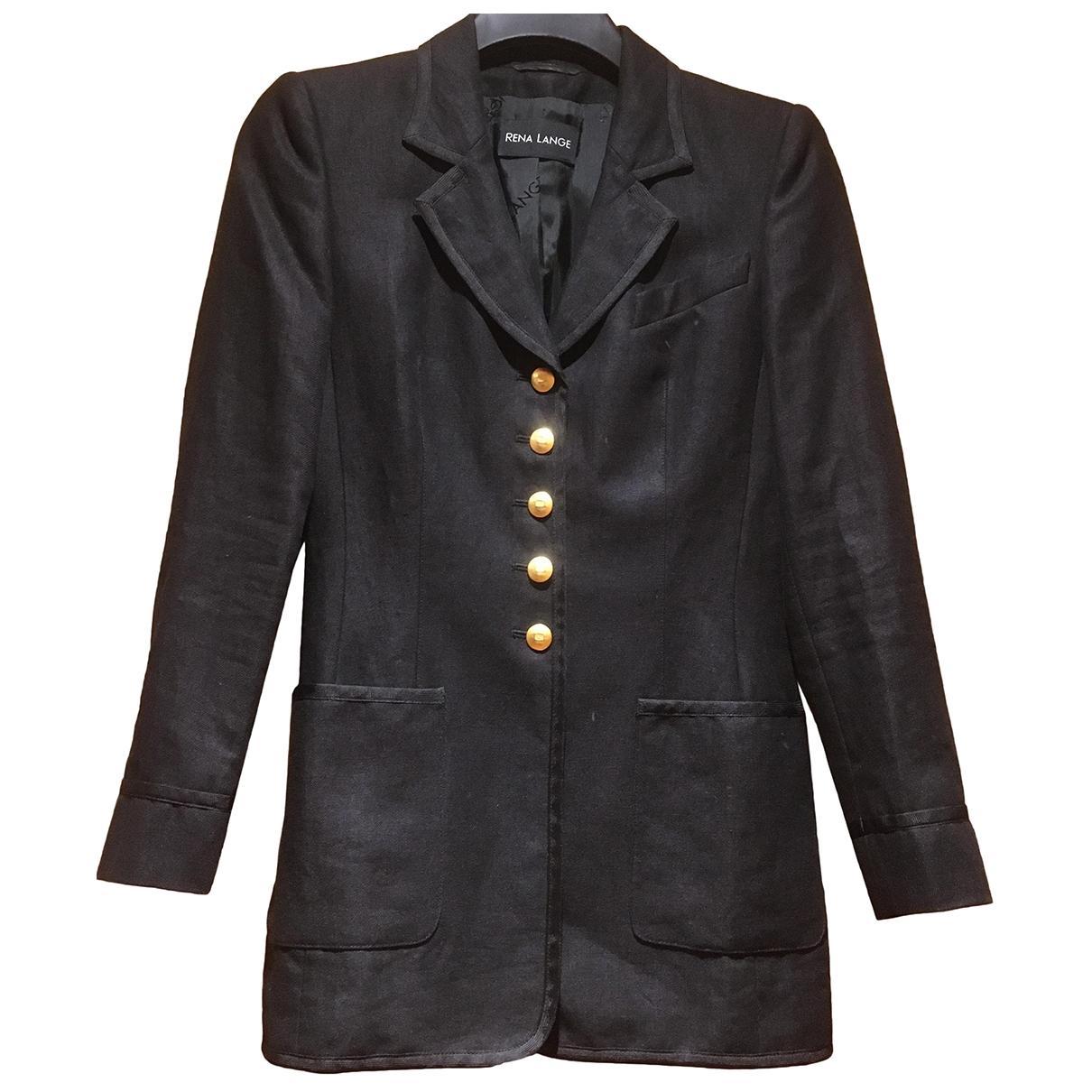 Rena Lange \N Black Linen coat for Women 34 FR