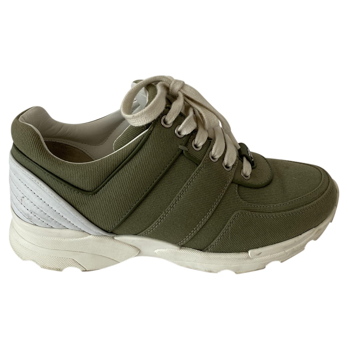 Chanel N Khaki Cloth Trainers for Women 37.5 EU