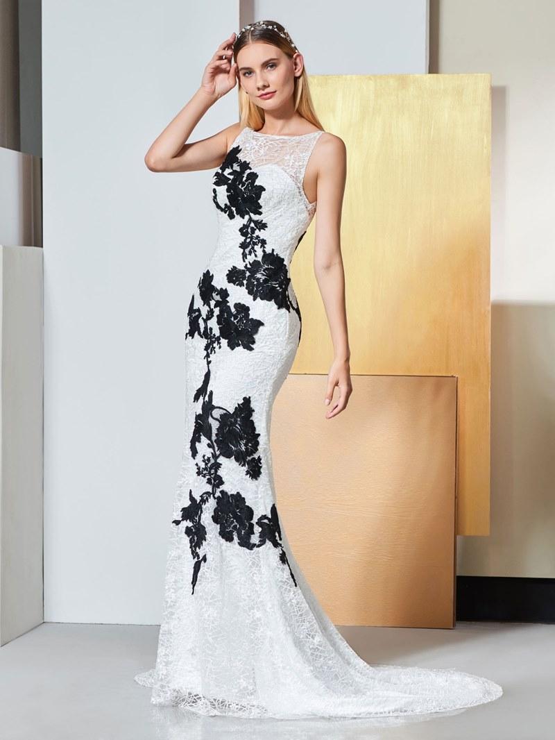Ericdress Scoop Neck Applique Lace Mermaid Evening Dress