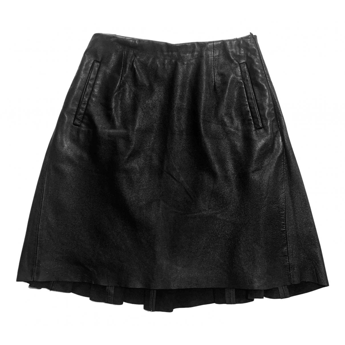 Raoul - Jupe   pour femme en cuir - noir