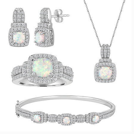 Lab-Created Opal And Cubic Zirconia Pure Silver Over Brass 4Pc Set, 8 , No Color Family