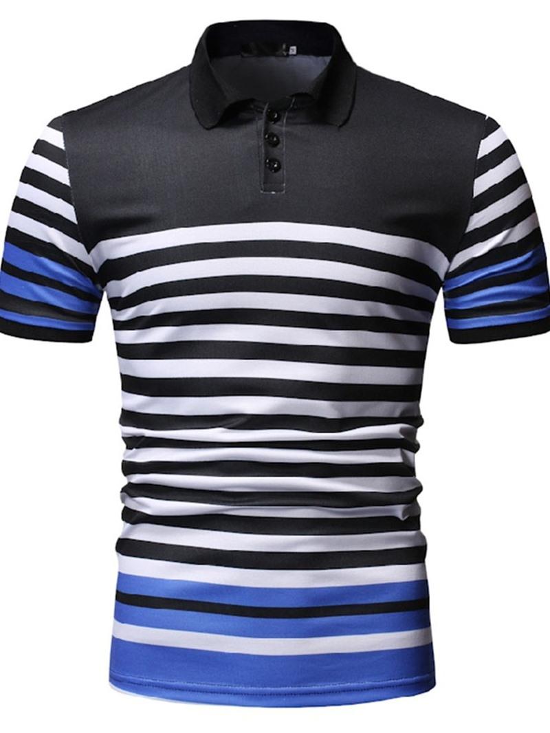 Ericdress Stripe Casual Polo Neck Mens Shirt