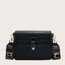 Snap Button Flap Shoulder Bag
