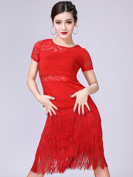 Milanoo Kids Dance Costumes Gypsy Flamenco Ballroom Dancer Wears Red Long Kids Flamenco Outfit Paso Doble Dresses Spanish Skirt for Girls Halloween