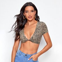 Top corto de leopardo bajo girante de cuello profundo