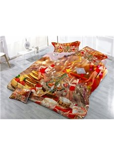 Cheerful Santa Claus Wear-resistant Breathable High Quality 60s Cotton 4-Piece 3D Bedding Sets