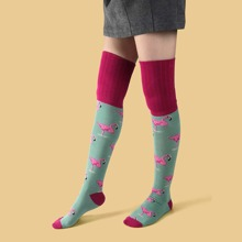 Flamingo Pattern Over The Knee Socks