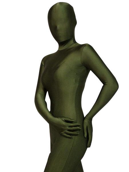 Milanoo Halloween Morph Suit Dark Green Lycra Spandex Zentai Suit