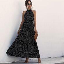 Maxi Kleid mit Selbstband, Punkten Muster und Neckholder