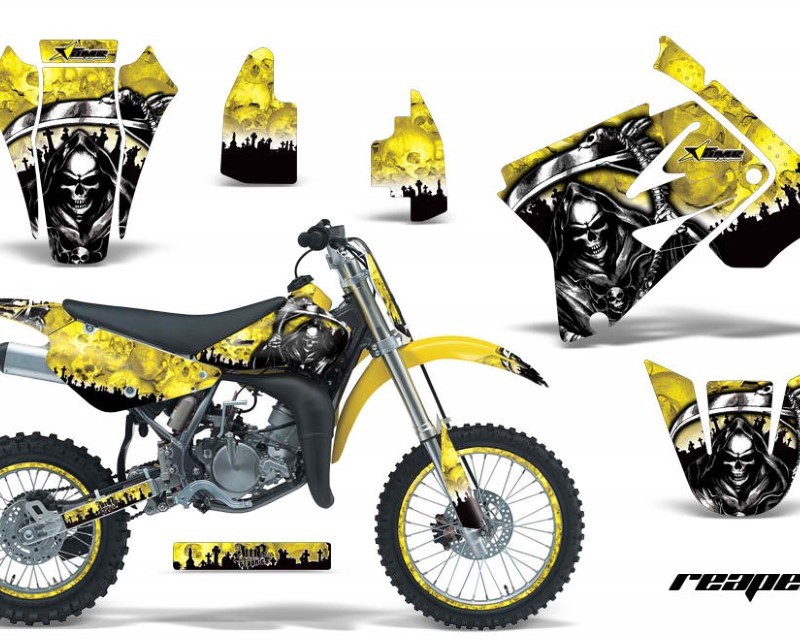 AMR Racing Graphics MX-NP-SUZ-RM85-02-16-RP Y Kit Decal Sticker Wrap + # Plates For Suzuki RM85 2002-2016?REAPER YELLOW
