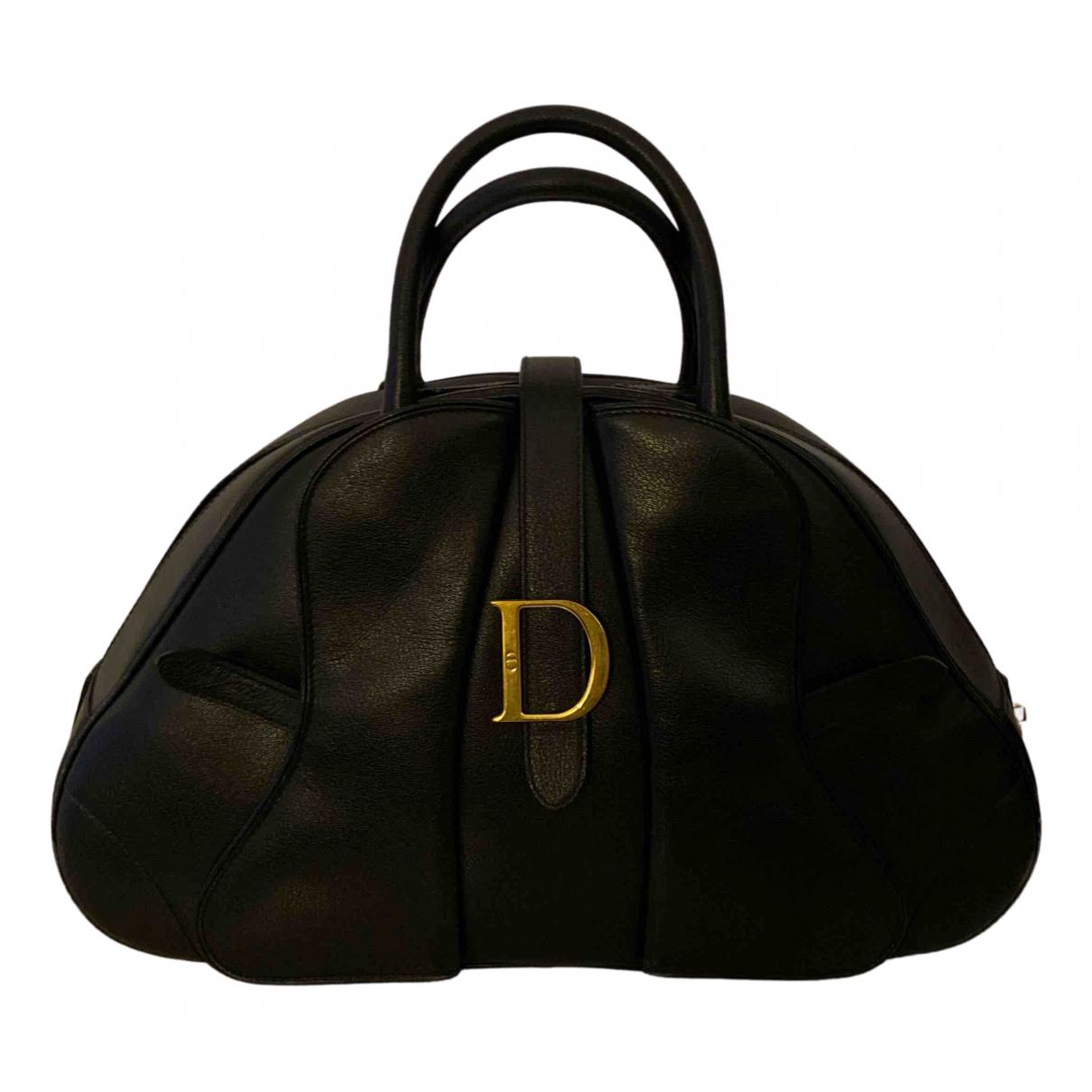 Dior Saddle Bowler Handtasche in  Schwarz Leder