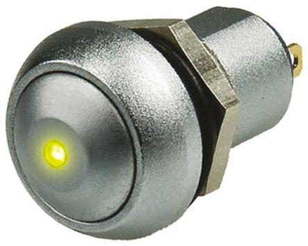 APEM Single Pole Single Throw (SPST) Latching Yellow LED Push Button Switch, IP67, 12.9 (Dia.)mm, Panel Mount, 24V dc