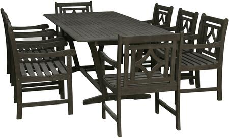 Renaissance Collection V1294SET26 9 PC Outdoor Patio Dining Set with Extendable Dining Table and 8 Patio Armchairs in Vista Grey