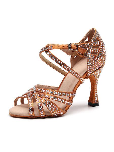 Milanoo Women\'s Customized Latin Dance Shoes Satin Open Toe Luxury Rhinestones Ballroom Dance Shoes