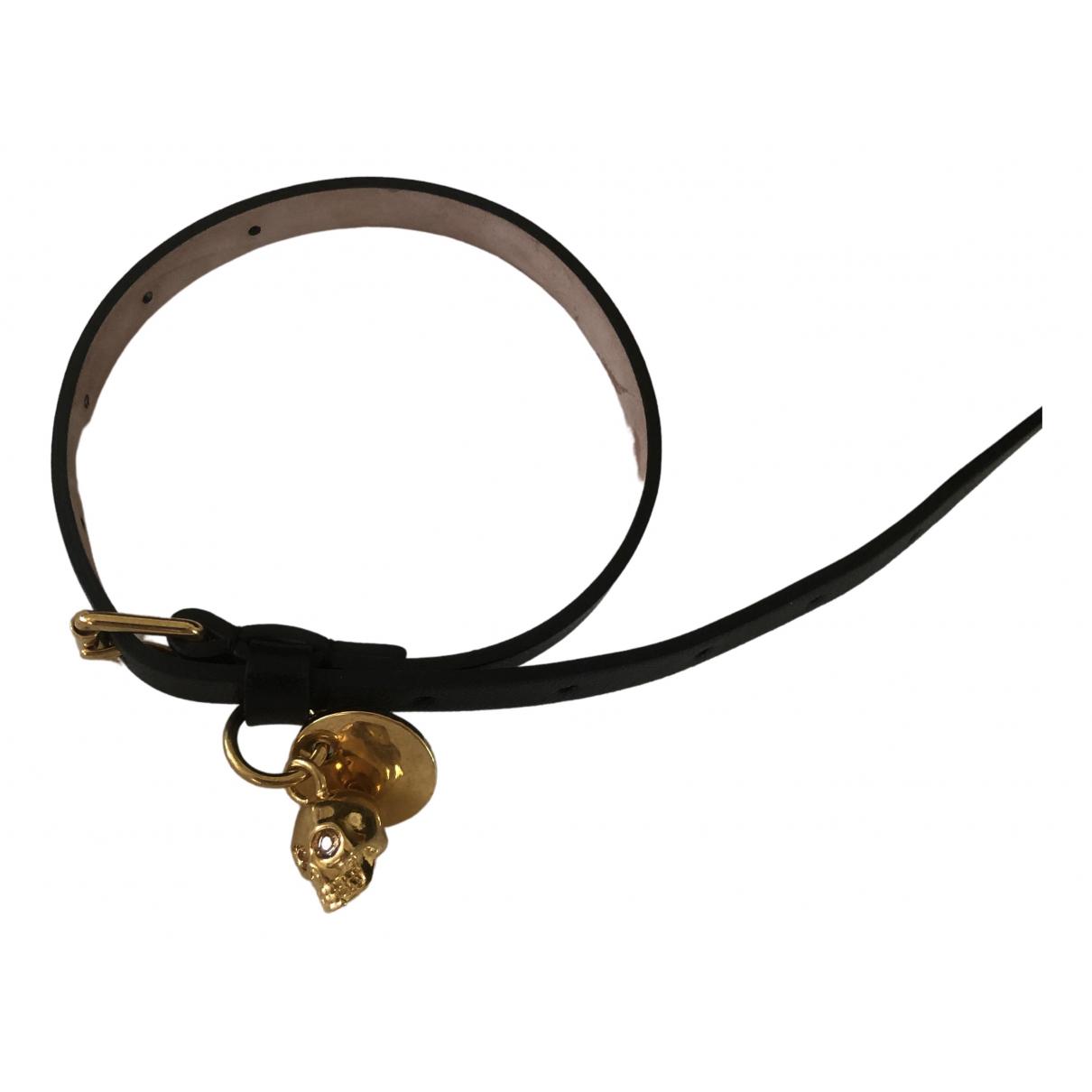 Alexander Mcqueen - Bracelet   pour femme en cuir - noir