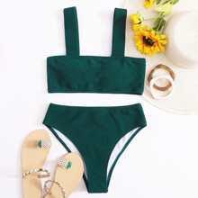 Plain High Waisted Bikini Swimsuit