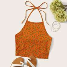 Ditsy Floral Cropped Halter Top
