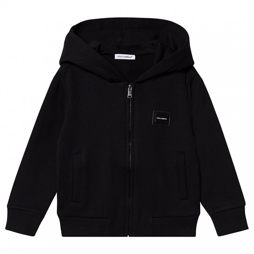 Dolce & Gabbana Cotton Hoodie Colour: BLACK, Size: 10 YEARS
