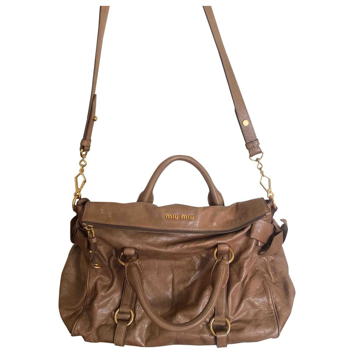 Miu Miu Bow bag Brown Patent leather handbag for Women \N