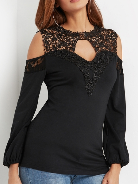 Yoins Black Lace Insert Cut Out Plain Cold Shoulder Long Sleeves Tee