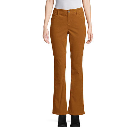St. John's Bay Womens Mid Rise Belly Bootcut Corduroy Pant, 8 , Brown