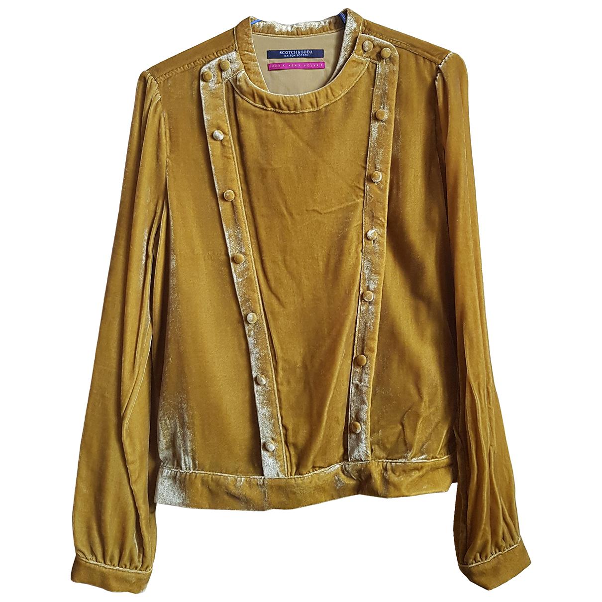 Maison Scotch - Top   pour femme en velours - jaune