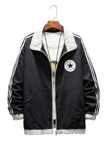 Milanoo Men\\'s Jackets Full Zip Stand Collar Regular Fit Jacket For Spring