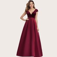 Plunging Neck Velvet Bodice Maxi Prom Dress