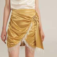 Pearl Fringe Detail Ruched Side Buckle Belted Satin Skirt