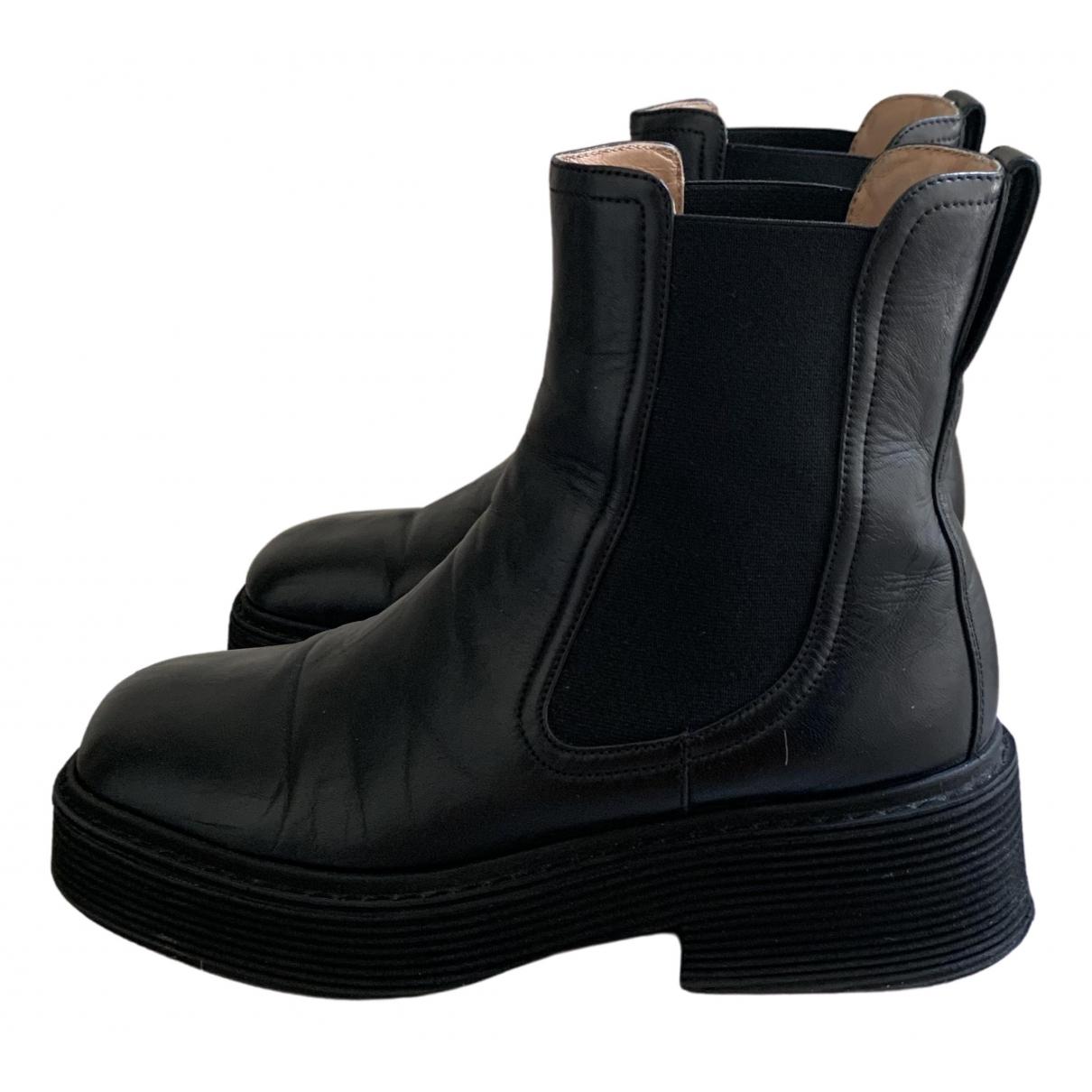 Marni - Boots   pour femme en cuir - noir