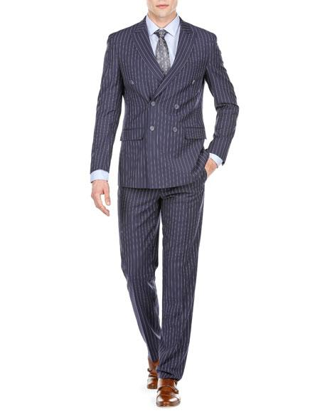 Men's Navy Blue Double Breasted Slim Fit Bold Stripe Peak Lapel Suits