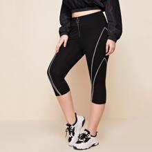Plus O-ring Zip Up Contrast Binding Leggings