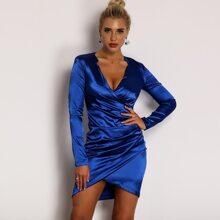 Plunge Neck Asymmetrical Wrap Satin Dress