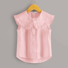 Girls Frill Trim Peter-pan-collar Curved Hem Blouse
