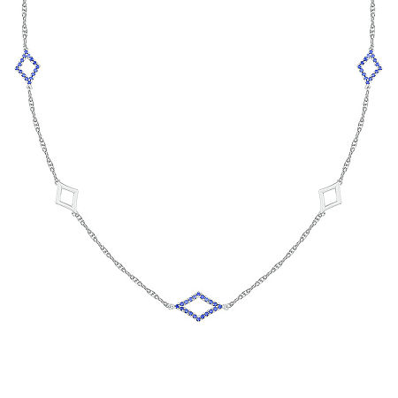 Womens Lab Created Blue Sapphire Sterling Silver Pendant Necklace, One Size , No Color Family