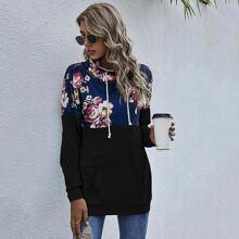 Sweatshirt mit Blumen Muster und Kordelzug