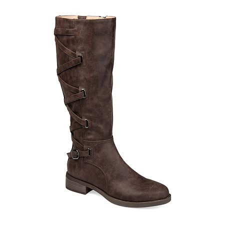 Journee Collection Womens Carly Riding Boots Stacked Heel, 7 Medium, Brown