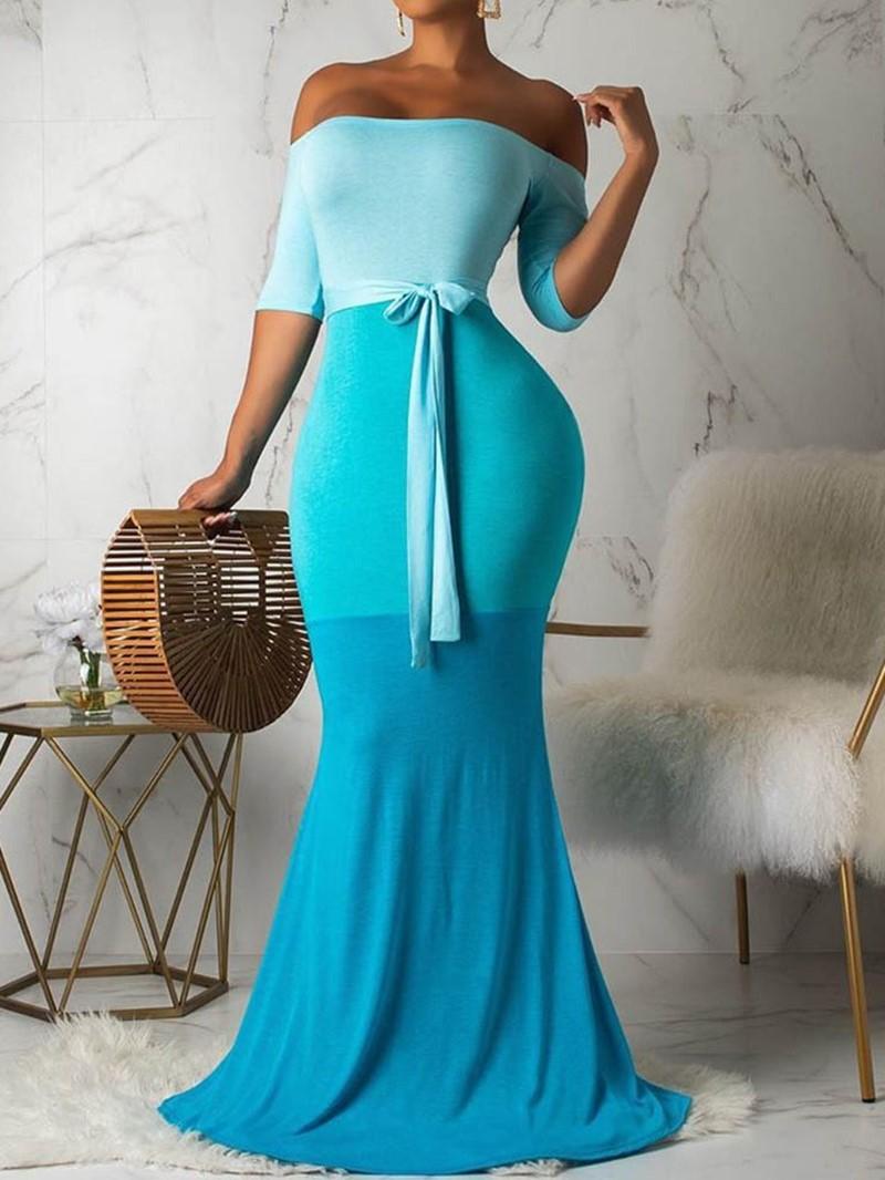 Ericdress Patchwork Floor-Length Off Shoulder Color Block Mermaid Dress