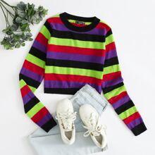 Crop Pullover mit buntem Streifen