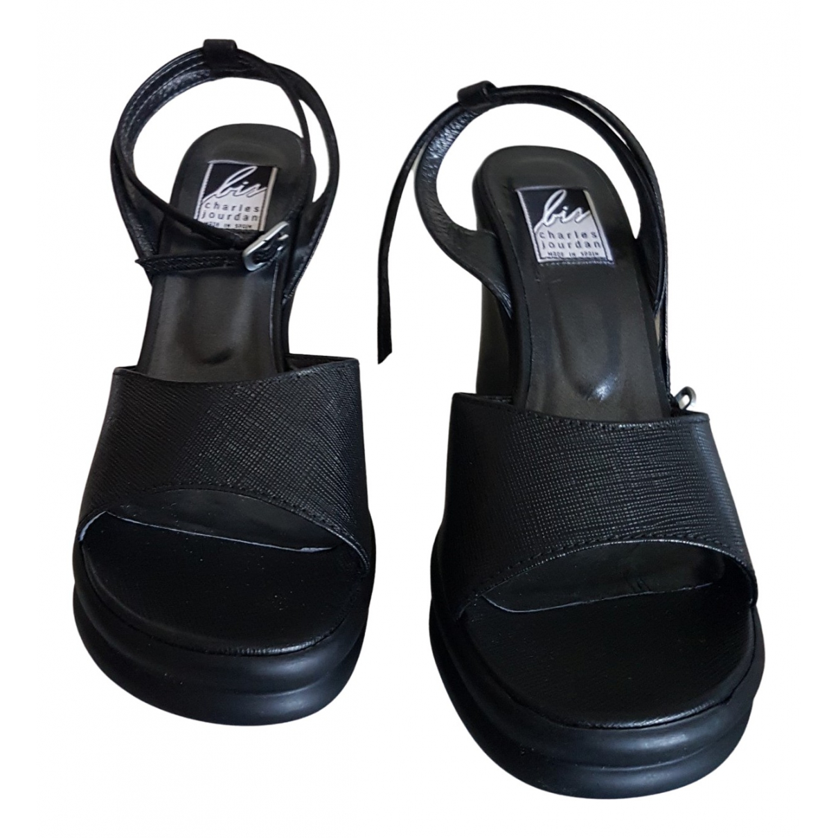 Charles Jourdan N Black Leather Heels for Women 37 EU