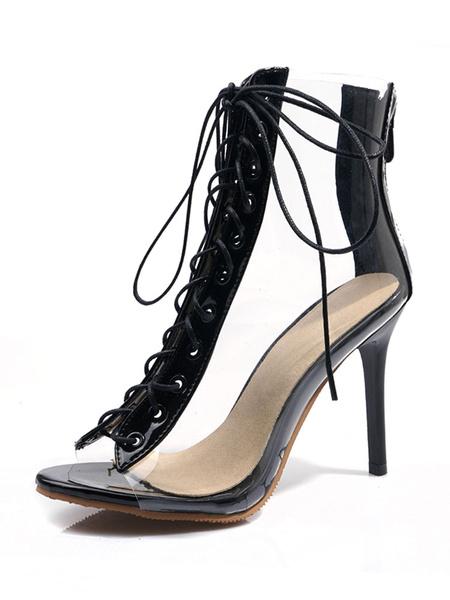 Milanoo Botas de sandalias blancas Mujeres punta abierta con cordones Botines de tacon alto Zapatos claros