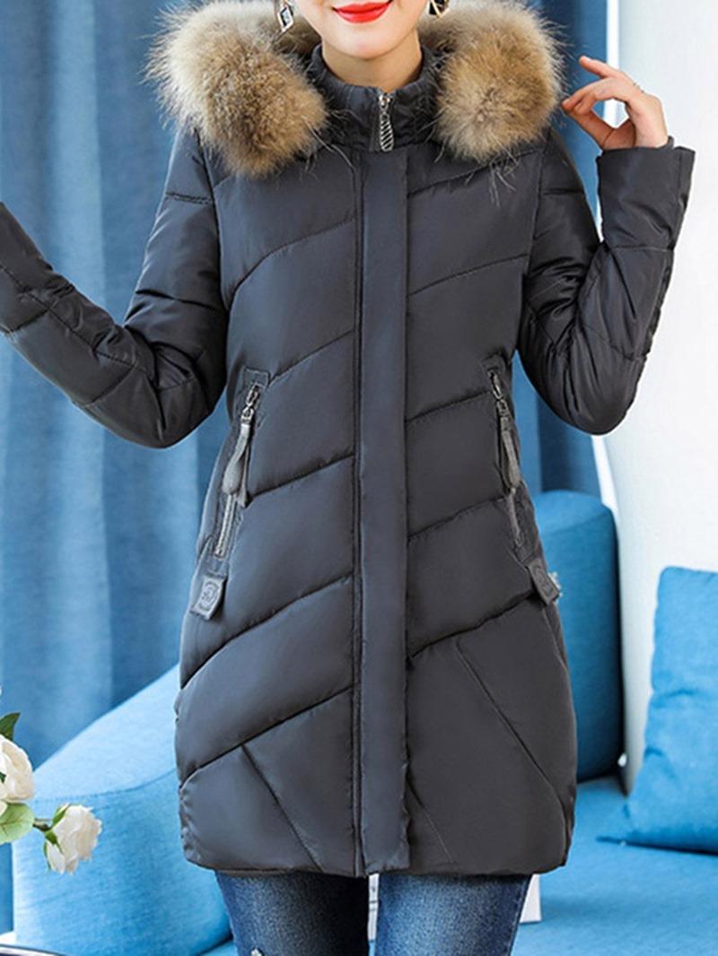 Ericdress Hooded Thick Plain Zipper Mid-Length Long Sleeves Coat