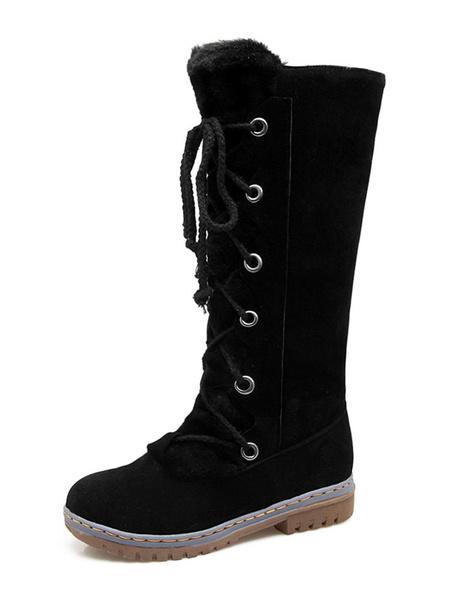 Milanoo Womens Winter Mid Calf Boots Round Toe Flat Boots