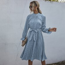 Polka Dot Frill Neck Pleated Belted Dress