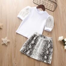 Toddler Girls Dobby Mesh Puff Sleeve Top & Snakeskin Skirt