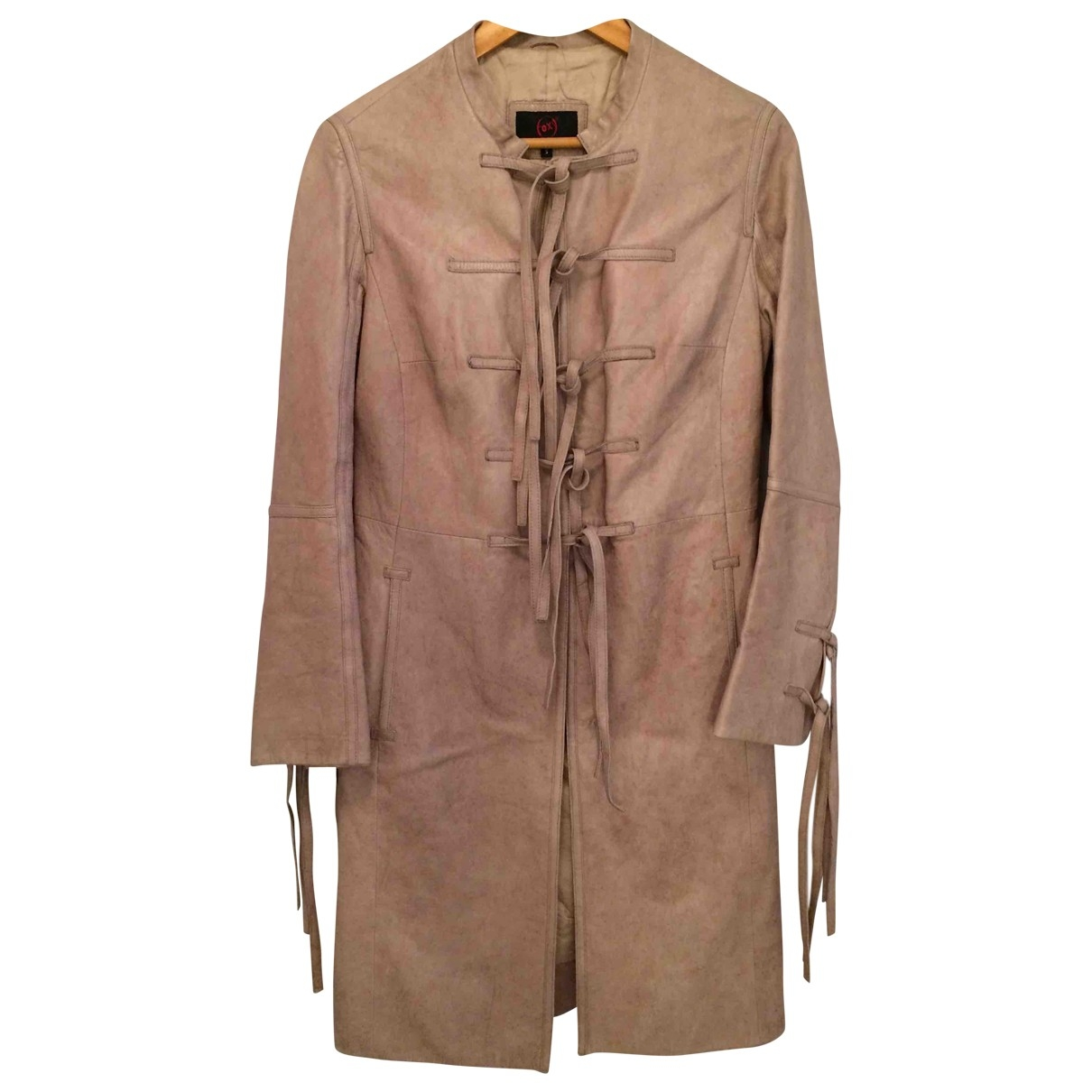 Non Signé / Unsigned Hippie Chic Beige Leather jacket for Women 38 FR