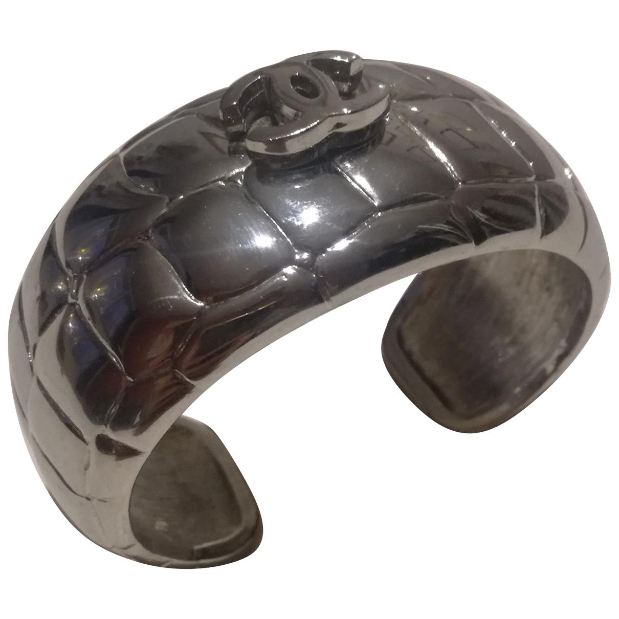 Chanel - Bracelet CC pour femme en metal - argente