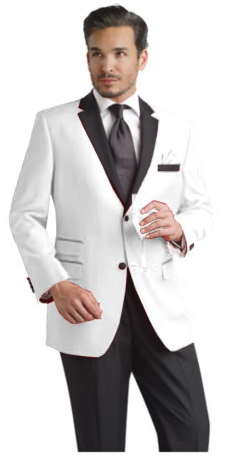 White Two Button Notch Party Suit and Tuxedo and Blazer w/ Black Lapel